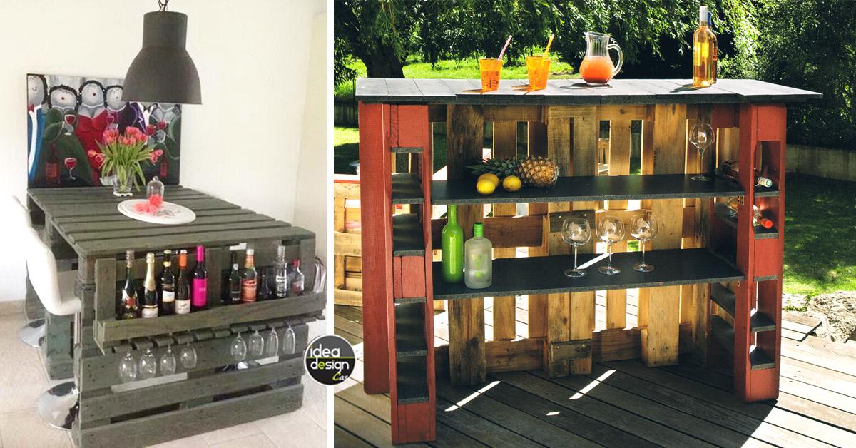 Bancone bar con pallet yx53 pineglen for Arredamento angolo bar