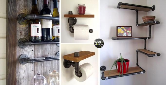 Idee riciclo arredamento arredamento bar riciclato for Tubi idraulici arredamento