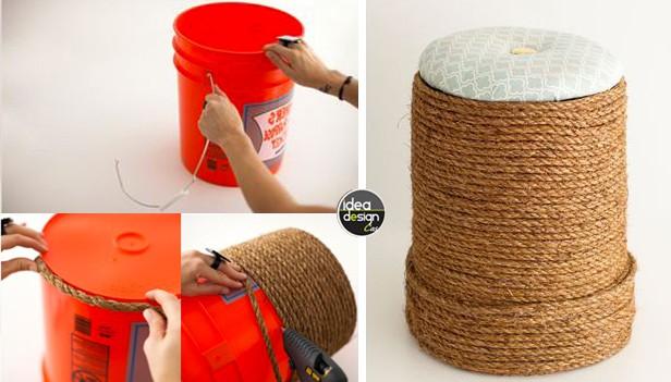 Riciclo creativo: Secchio vuoto un po' di corda ed ecco un pouf