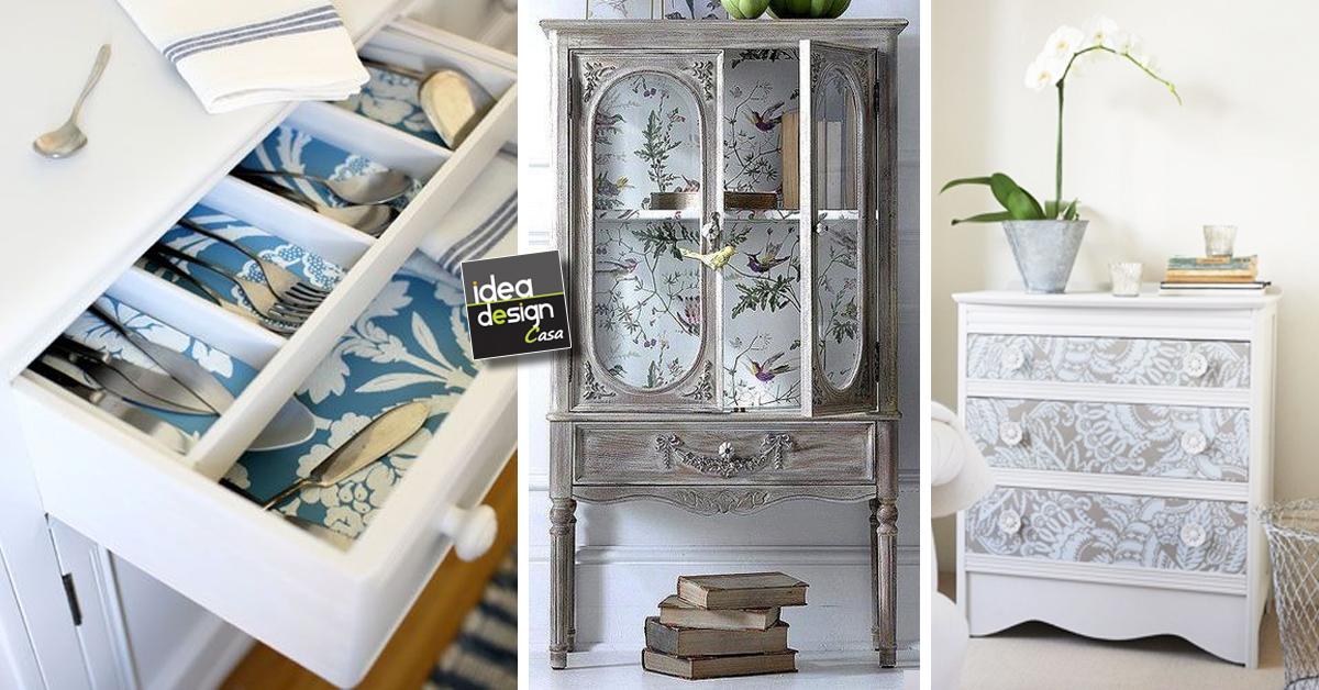 Affordable decorare mobili con carta da parati ecco idee - Carta da parati per rivestire mobili ...