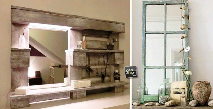 Idee Originali Per Il Bagno : Specchio fai da te originale con materiale riciclato! 20 idee