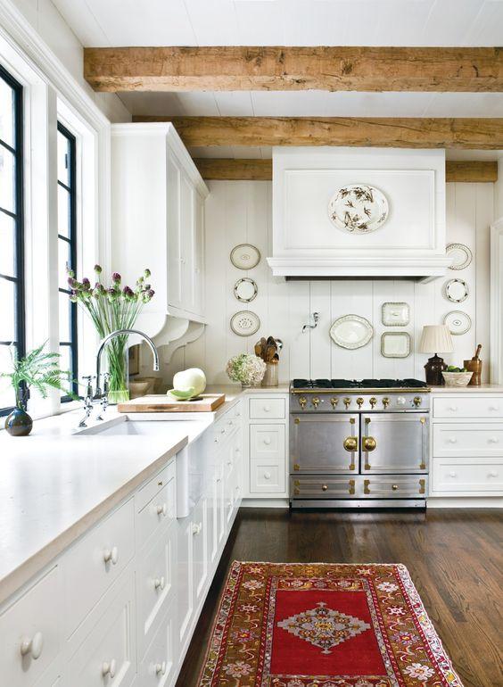 travi legno cucina bianca 10