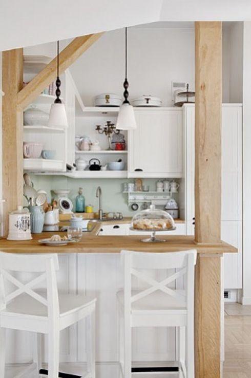 travi legno cucina bianca 2