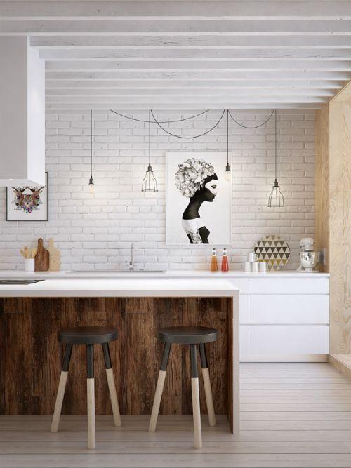travi legno cucina bianca 5
