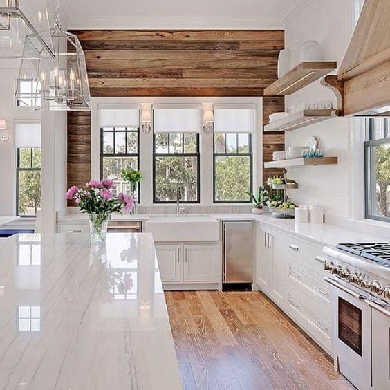 travi legno cucina bianca 6
