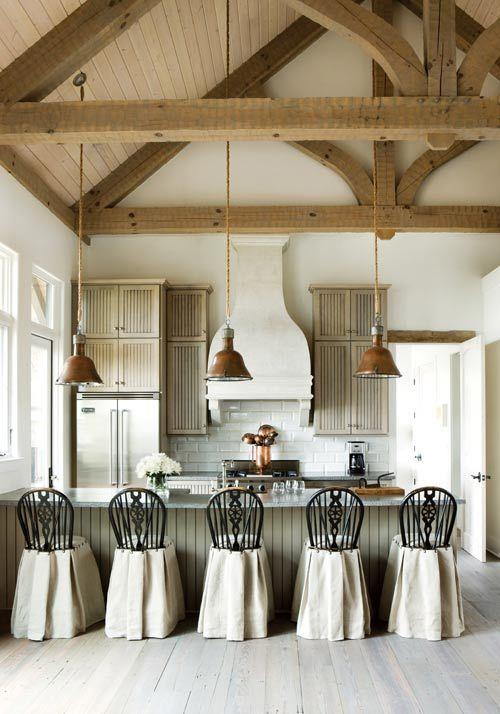 travi legno cucina bianca 9