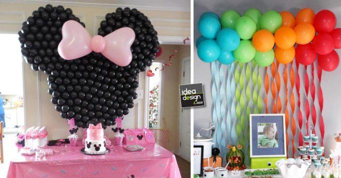 Decorare casa con i palloncini per un compleanno 20 idee - Composizione palloncini da tavolo ...