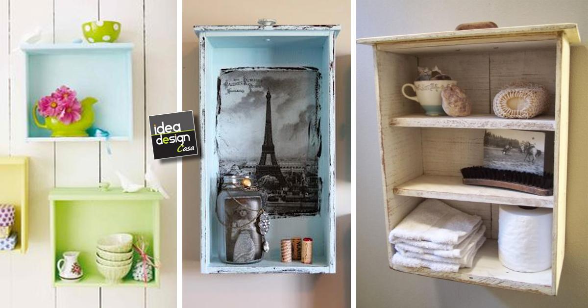Vecchi cassetti diventano mensole ecco 20 idee for Arredare bagno fai da te
