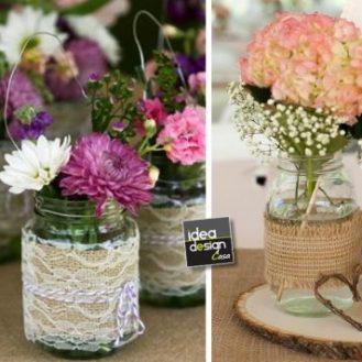 riciclo-barattoli-vetro-con-fiori