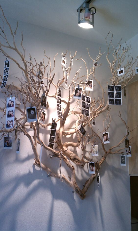 Un alberello di foto a casa tua ecco 20 idee creative - Rami secchi decorativi ...
