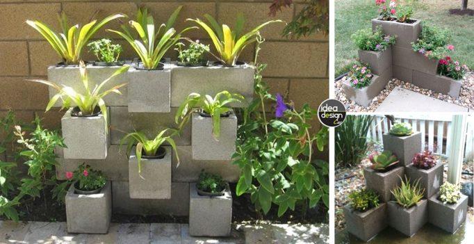 Blocchi di cemento fioriti 20 idee per decorare il for Abbellire giardino casa