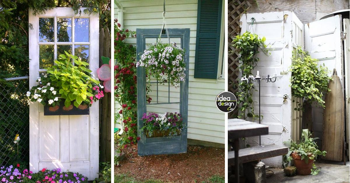 Decorare il giardino riciclando le vecchie porte 20 idee for Rivestire porte vecchie