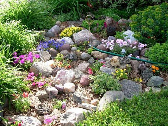 bellissima Aiuola con pietre e fiori colorati