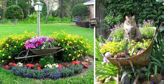 La seconda vita della vecchia carriola 20 idee per for Abbellire il giardino