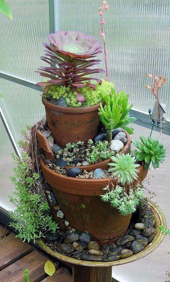 Riciclare i vasi rotti in fantastici giardini in miniatura for Tray garden designs