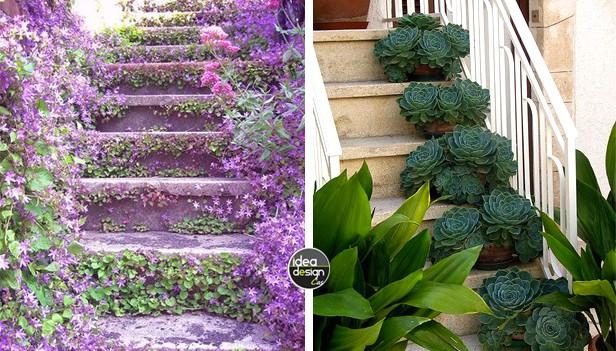 Decorare le scale esterne con i fiori 20 idee creative - Scale per giardini ...