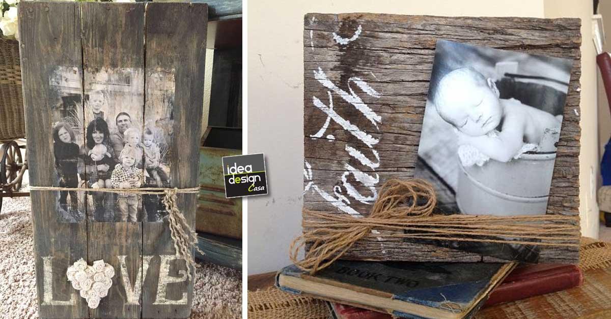 Portafoto fai da te con legno riciclato 18 idee creative - Porte fai da te legno ...