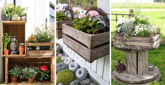 Decorare il giardino con le cassette di legno 20 idee - Oggetti per giardino ...