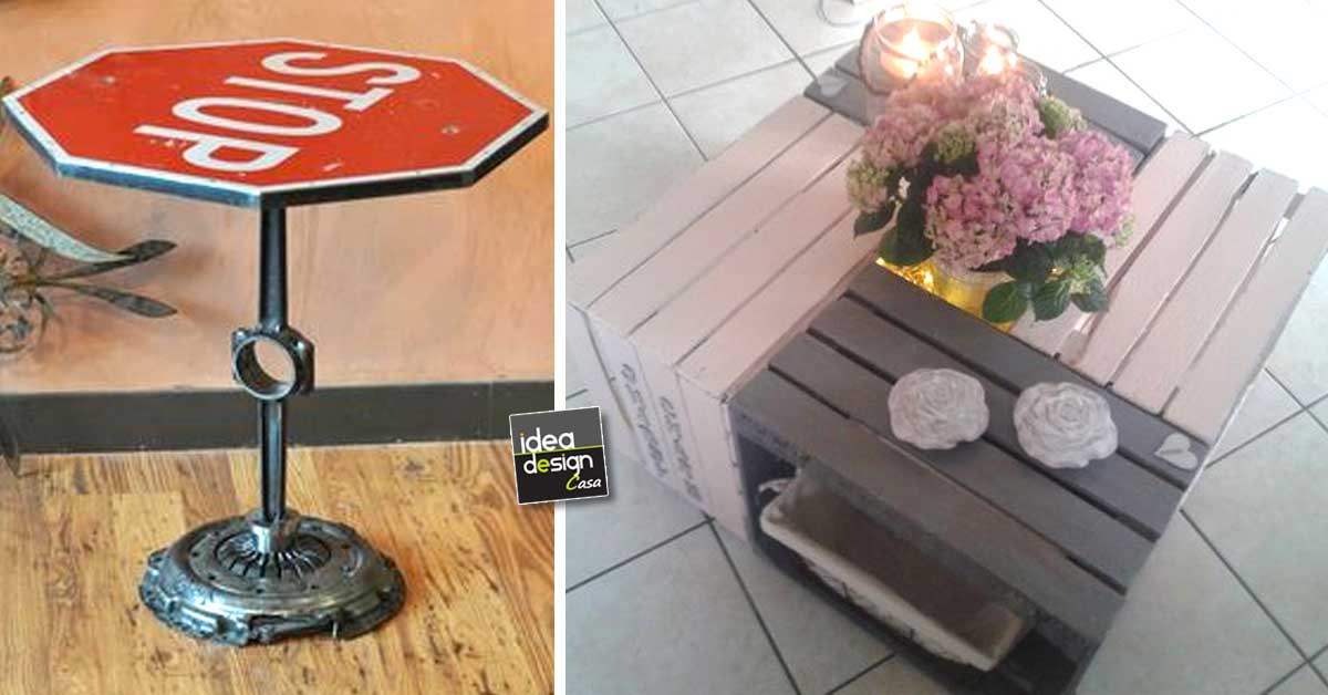 Un tavolino con materiali riciclati ecco 20 idee creative for Idee design fai da te