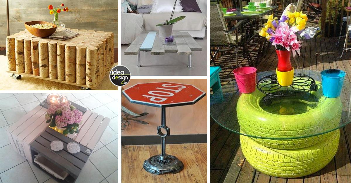 Un tavolino con materiali riciclati ecco 20 idee creative for Piani di casa fai da te