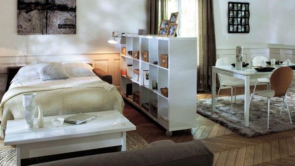 arredare un monolocale salone e camera 2 in 1 20 idee. Black Bedroom Furniture Sets. Home Design Ideas