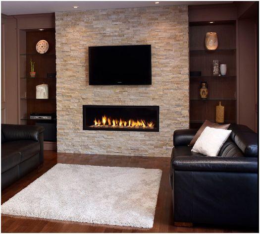Stone Fireplace With Cabinets: Decorare La Parete TV Con Le Pietre! 20 Idee