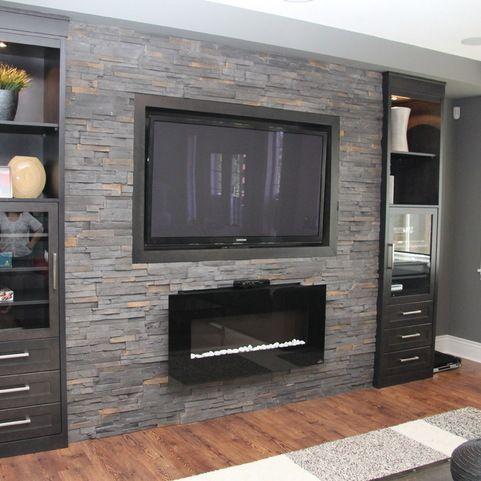 decorare la parete TV con le pietre