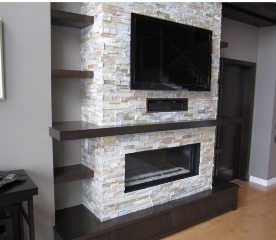 decorare la parete tv con le pietre  20 idee gas fireplace/tv entertainment center tv over fireplace ideas entertainment center