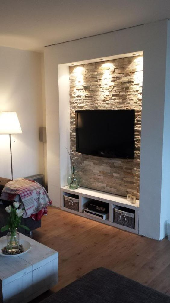 Decorare la parete TV con le pietre! 20 idee...