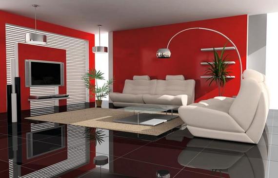 Abbinare bianco e rosso nel salone
