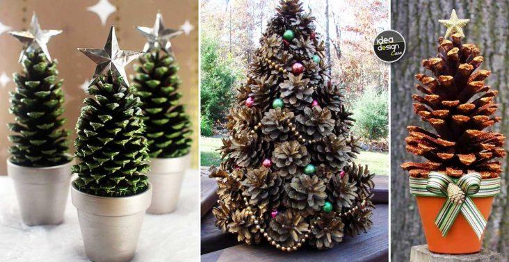 Realizzare un alberello con le pigne 20 esempi a cui - Pigne decorate natalizie ...