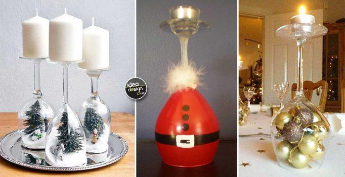 Portacandele natalizi con bicchieri di vetro fai da te 20 idee - Bicchieri decorati per natale ...