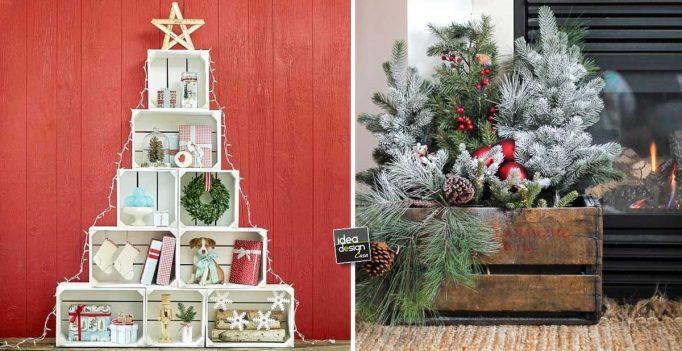 Idee natalizie con pallet e cassette di legno ecco 20 - Decorazioni natalizie in legno ...