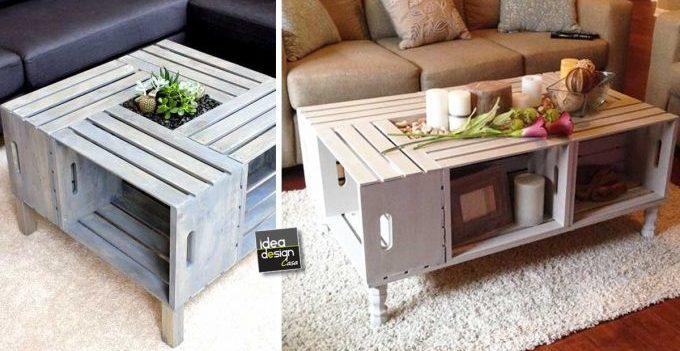 Tavolini fai da te con cassette di legno idee creative