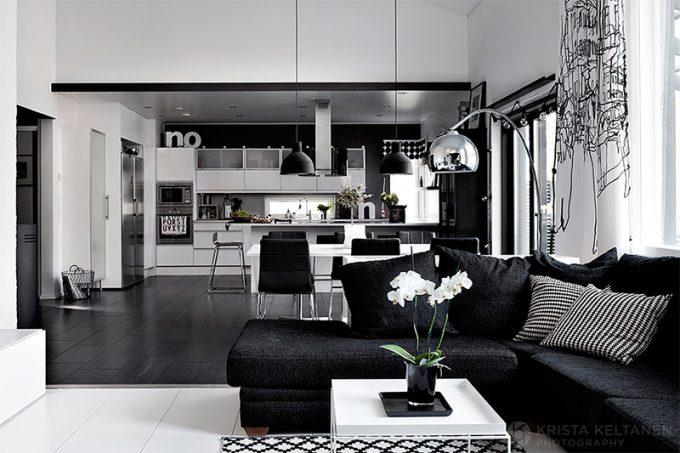 Decorare casa in bianco e nero 18 ideadesigncasa - Soggiorno bianco e nero ...