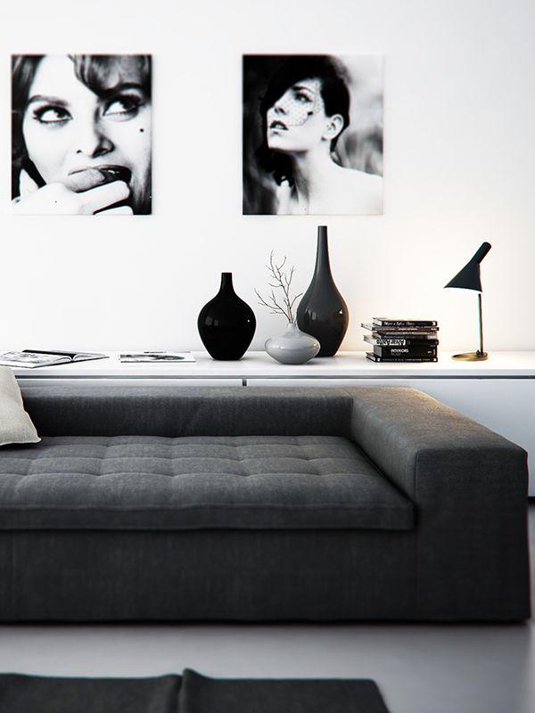 abbinamenti bianco e nero per il salone