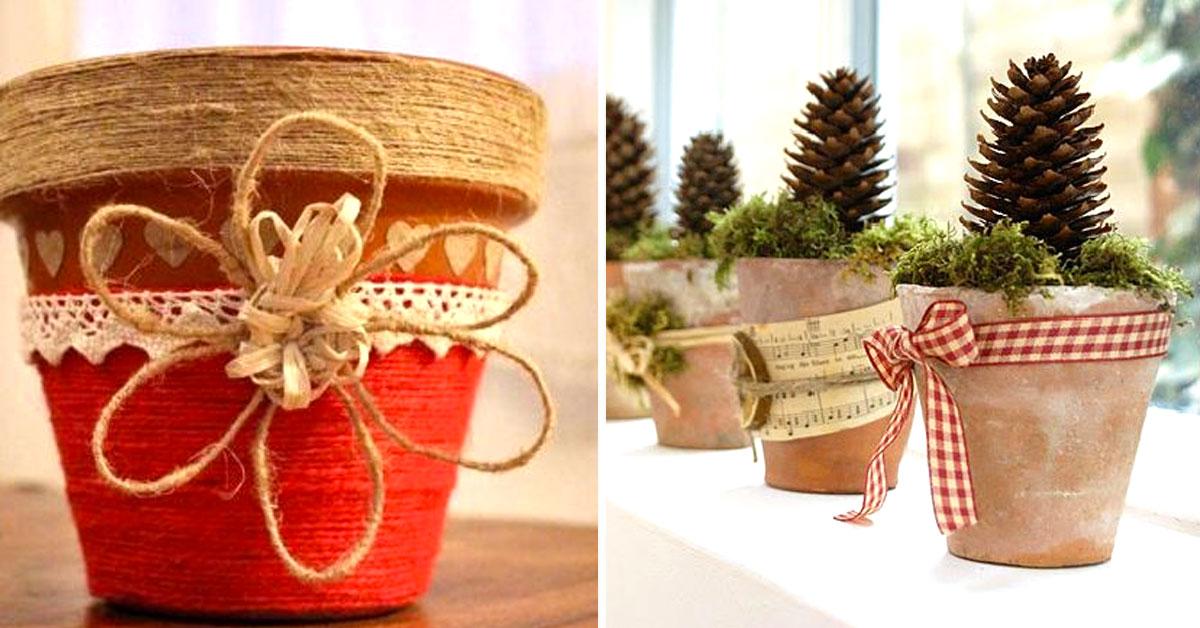 Vasetti Segnaposto Natalizi.Vasi Di Terracotta Decorati Per Natale 20 Idee Tutorial