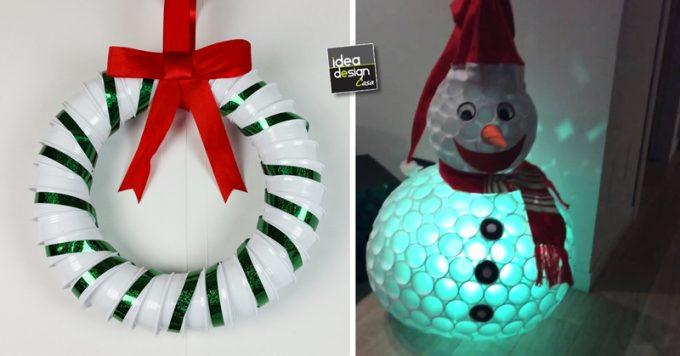 Albero Di Natale Con Bicchieri Di Plastica.Decorazioni Natalizi Con Bicchieri Di Plastica O Carta 20 Idee Tutorial