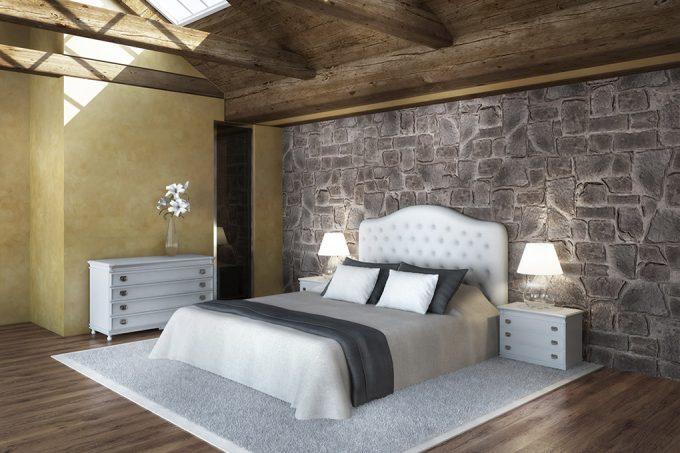 Decorare una parete con le pietre in camera da letto 20 - Rivestimento camera da letto ...