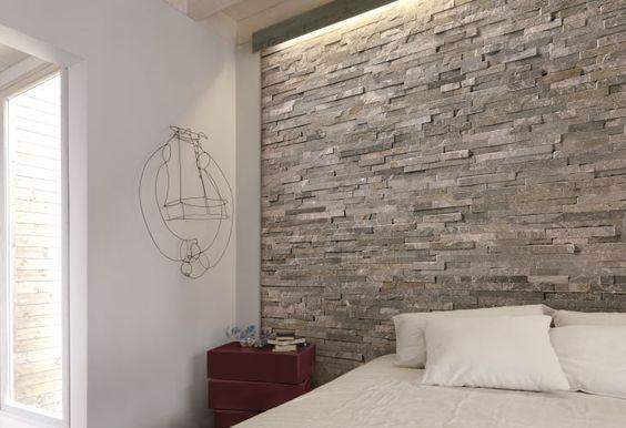 Decorare una parete con le pietre in camera da letto! 20 idee per ispirarvi...