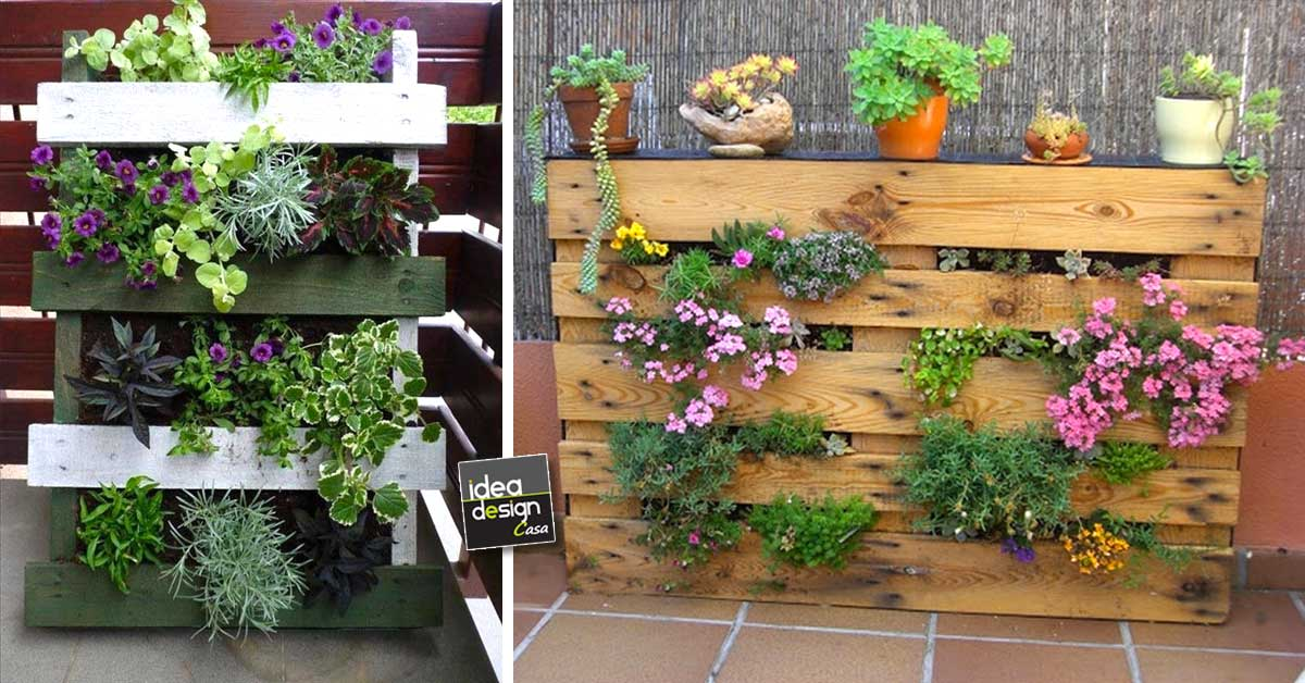 Mini giardini con bancali 20 idee da cui trarre - Brouette decorative en bois pour plantes exterieur ...