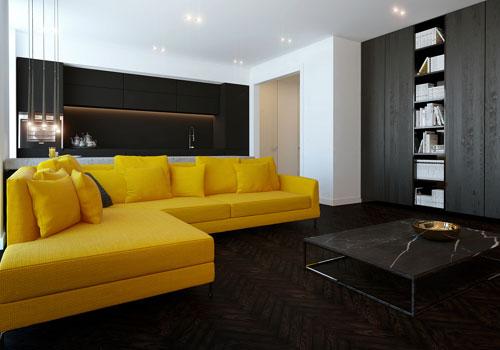 Abbinare giallo e nero nel salone
