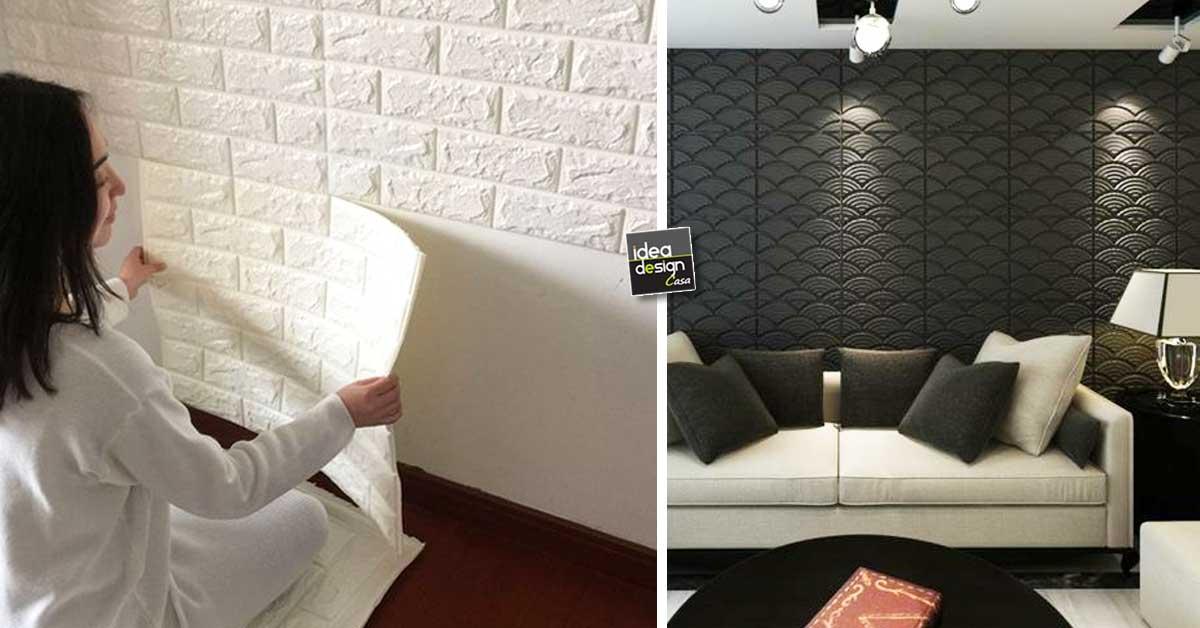 Decorare le pareti di casa con le tavole adesive 3d ecco - Decorare pareti soggiorno ...