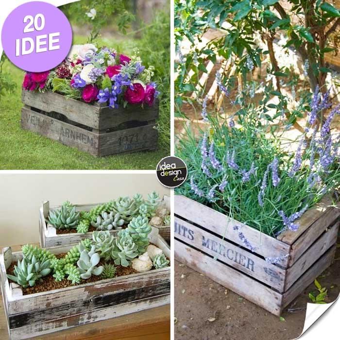 Una piccola fioriera in una cassetta di legno 20 idee a for Idee per realizzare una fioriera