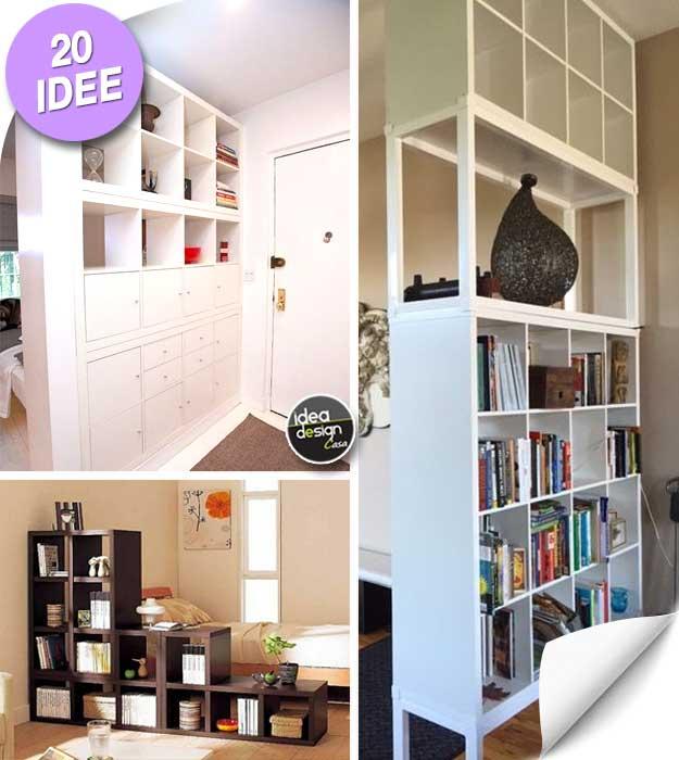 20 idee per usare gli scaffali ikea come separ for Casa 40 mq ikea