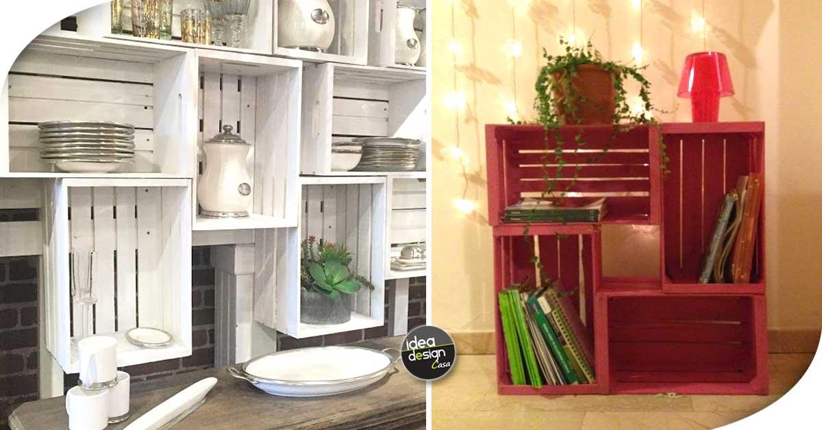 Le cassette di legno per arredare casa 20 idee creative for Piani di casa fai da te
