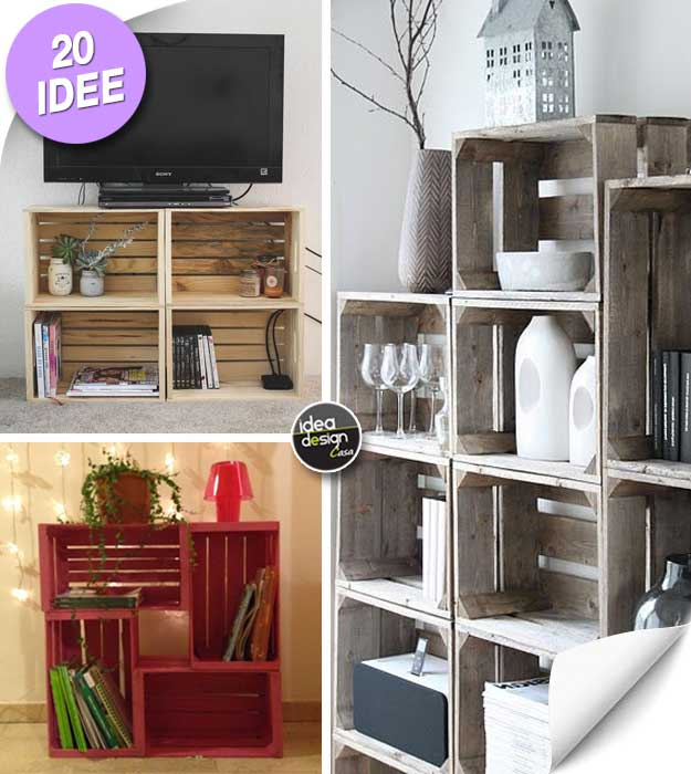 Le cassette di legno per arredare casa 20 idee creative for Idee creative per arredare