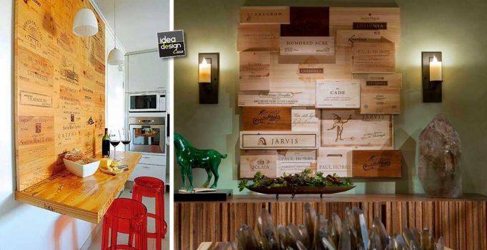 Una parete design rivestita con cassette di vino esempi da