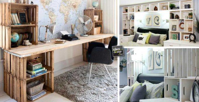 Arredare la camera da letto con le cassette di legno 20 - Idee per arredare la camera da letto ...