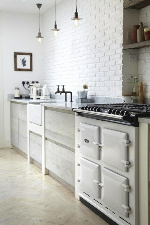 Decorations with white brick in the kitchen idea 13